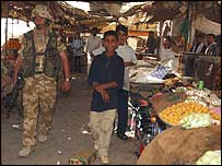 LCpl Findlay in al-Faw market