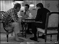 President Gerald Ford, left, with aides Terrence O'Donnell, centre, and Stephen Todd. Photo National Archives/Kennedy Library