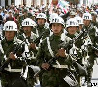 Efectivos de las fuerzas de seguridad en Sucre