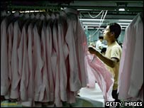 Worker in a Chinese clothes factory