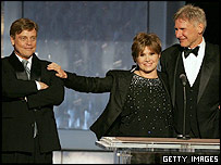 Mark Hamill (l), Carrie Fisher and Harrison Ford at the AFI ceremony