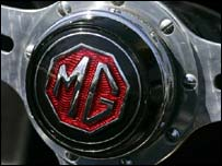 Steering wheel of classic MG car