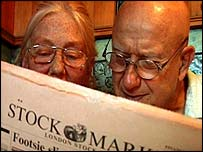 Pensioners read the Financial Times