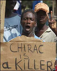 Anti-French protestor in Ivory Coast