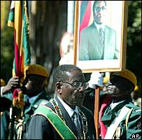 President Robert Mugabe outside parliament