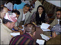 Participants in constitutional workshop in Mangesh, northern Iraq