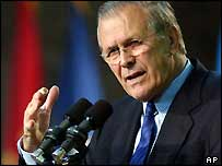 Donald Rumsfeld delivers his address at Camp Buehring in Kuwait