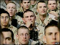 US troops in Camp Buehring, Kuwait, listen to Donald Rumsfeld