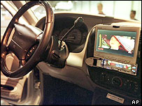 Image of a DVD player in a car