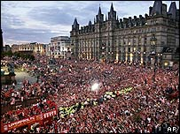 Victory celebrations in central Liverpool