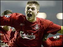 Liverpool's Steven Gerrard celebrates his sensational late winner