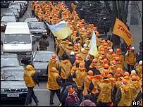 Pro-Yushchenko demonstrators in Kiev