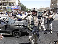 Car bomb blast in Baghdad's Shula neighbourhood on 7 July 2005