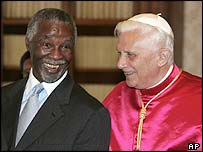 South African President Thabo Mbeki with Pope Benedict XVI in May