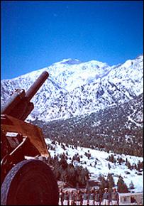 Горы и пушка