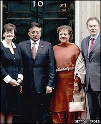 The Blairs and the Musharrafs at Downing Street