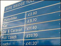 Skye Bridge tolls sign