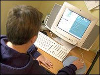 Teenager using the net, BBC