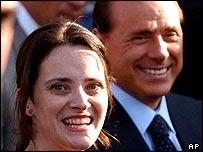 Clementina Cantoni with Prime Minister Silvio Berlusconi at Rome's Ciampino airport.