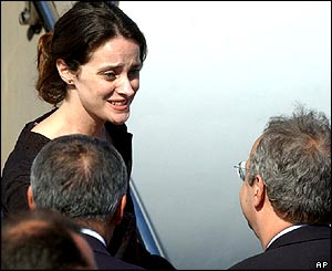 Italian aid worker Clementina Cantoni arrives at Ciampino military airport.