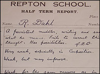 Dahl's Repton School report, Christmas term 1930