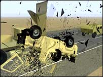 Computer-generated image of crash