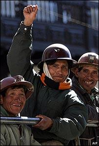 Mineros celebran en Sucre, Bolivia