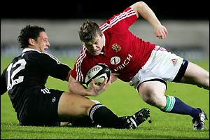 Brian O'Driscoll attempts to score the first try of the match
