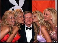 Playboy founder Hugh Hefner with Playboy girls