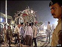 Bomb blast site in Mumbai, December 2002