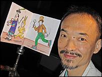 Kao Chung-li with one of his animations