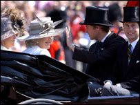 Prince William and Duchess of Cornwall in carriage