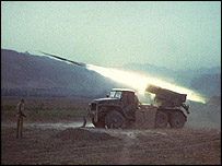 Soviet Grad rocket-launcher in action in Afghanistan (photo courtesy of afghanwar.spb.ru)