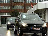 Opel cars leaving plant