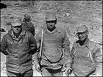 (from right) Vladimir Grigoryev, Corp V Novikov and Maj A Zhinkin in Vardak, Afghanistan, 1985 (photo: V Grigoryev)