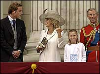 Prince William, Duchess of Cornwall and Prince Charles on balcony