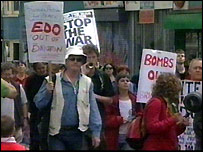 Anti-war protesters in Brighton