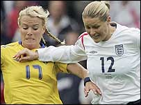 Sweden goalscorer Anna Sjostrom (left) and England midfielder Kelly Smith battle for possession