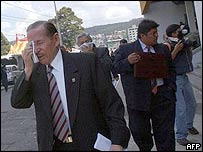 Ecuadorean judges leaving court building