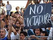 Protestors demonstrating against the court's dismissal