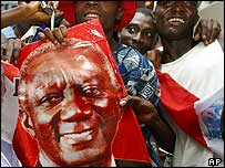 Mr Kufuor's supporters celebrating