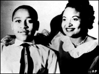 Emmett Till and his mother, Mamie Till Mobley, who died in 2003