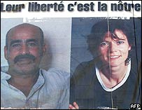 Poster calling for the release of Florence Aubenas and Hussein Hanoun al-Saadi