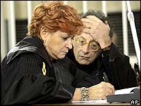 Prosecutors Ilda Boccassini (left) and Gherardo Colombo at hearing