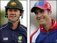 Captains Ricky Ponting and Michael Vaughan