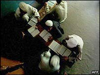 Students read the Koran at a Madrassa