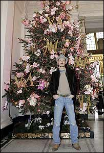 Matthew Williamson with Christmas tree