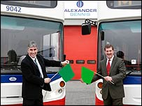 Alexander Dennis export sales manager Paul Offer and Ian Moore , managing director of Chassis Group.