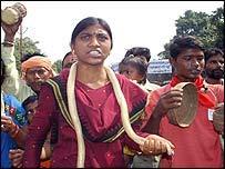 Snake charmer protester in Orissa