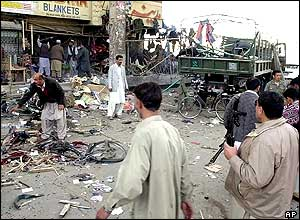 The site after a bomb blast in Quetta, Pakistan